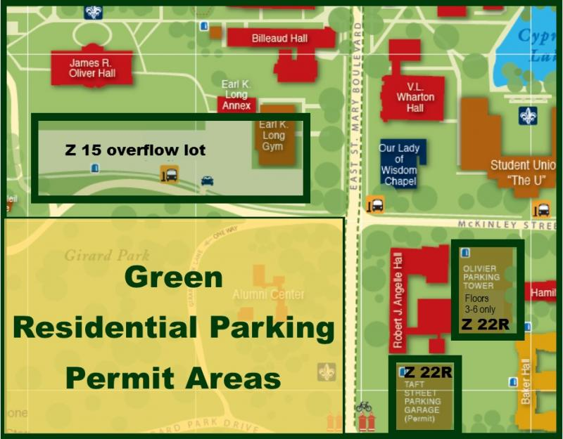 University Of Louisiana At Lafayette Campus Map.Zone Listing And Maps Office Of Transportation Services