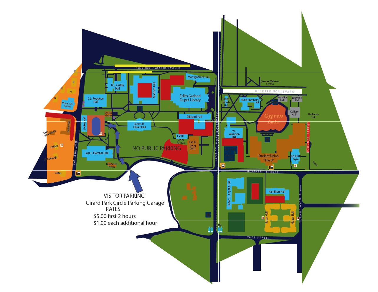 University Of Louisiana At Lafayette Campus Map.Visitor Parking Office Of Transportation Services